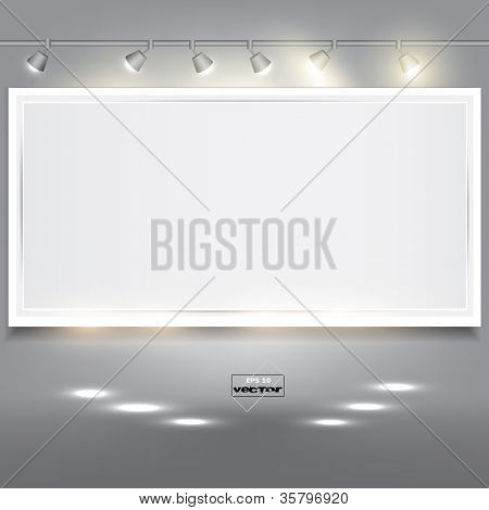 Empty white banner for product advertising with lighting