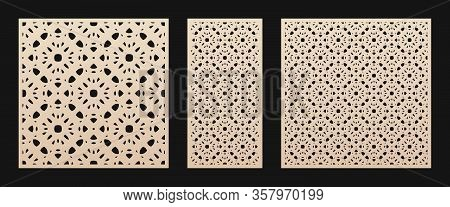 Laser Cut Panel. Vector Template With Geometric Pattern In Oriental Style, Floral Ornament, Grid, Me