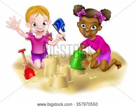 Cartoon Black And White Girl Kids, Friends Playing On The Sand With A Bucket And Spade Making Sandca