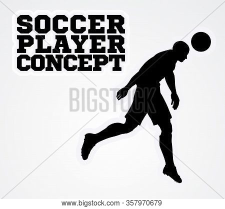 A Stylised Illustration Of A Soccer Football Player In Silhouette Heading The Ball