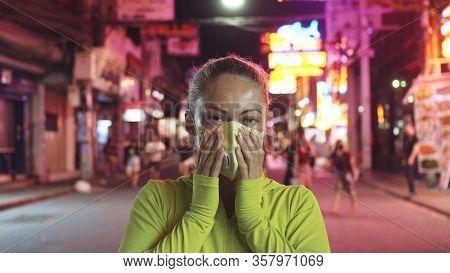 Woman Close Up Look Caucasian At Pattaya Walking Street With Wearing Protective Medical Mask. Lockdo
