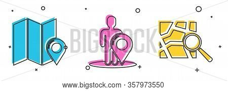 Set Folded Map With Location Marker, Map Marker With A Silhouette Of A Person And Folded Map With Lo