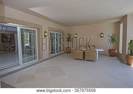 Outdoor Terrace Patio Of Luxury Tropical Hotel Resort Suite Room With Furniture