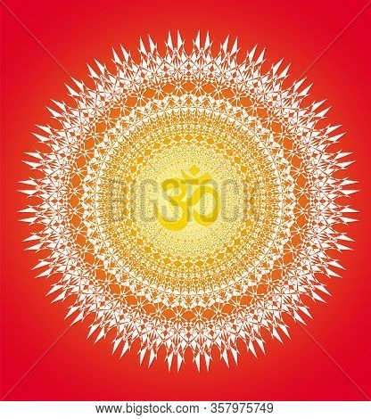 Сircle Openwork Mandala. White On A  Red Backgrounds. Sign Aum / Om / Ohm In Center. Spiritual Esote
