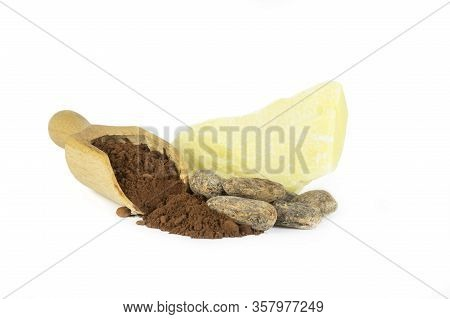 Cocoa Butter Or Cocoa Bean Solid Oil With Cacao Powder In Spoon And Raw Cocoa Beans Isolated On Whit