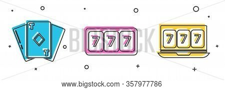 Set Playing Card With Diamonds, Slot Machine With Lucky Sevens Jackpot And Online Slot Machine With