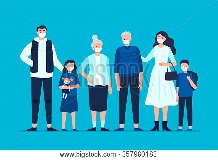 Family Wearing A Protective Medical Mask To Prevent Disease, Flu, Air Pollution, And Contaminated Ai