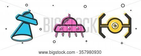 Set Ufo Flying Spaceship, Ufo Flying Spaceship And Cosmic Ship Icon. Vector