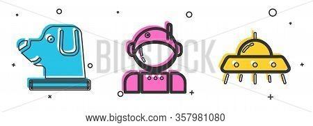 Set Dog In Astronaut Helmet, Astronaut And Ufo Flying Spaceship Icon. Vector