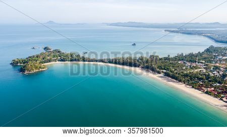 Aerial From Drone, Landscape Of Klong Dao Beach At Lan Ta Island South Of Thailand Krabi Province, P