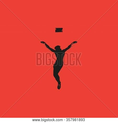 Vector Illustration On The Theme Of Easter And Good Friday. Abstract Religious Banner With Black Sil