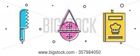 Set Bread Knife, Ball Tea Strainer And Cookbook Icon. Vector
