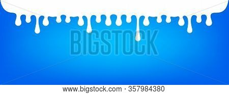 Milk Drops Flowing On Banner Blue Background, White Milk Drops Dripping Down From Top, Milk Liquid S