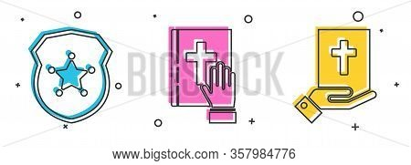 Set Police Badge, Oath On The Holy Bible And Oath On The Holy Bible Icon. Vector