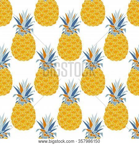 Pineapples Seamless Pattern. Cute Summer Print For Textiles.