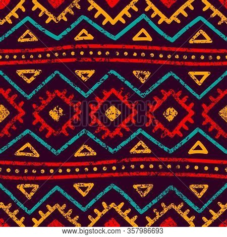 Seamless Tribal Pattern. Grunge Texture. Bohemian Style Print.