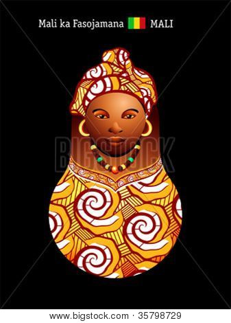 Matryoshkas of the World: malian girl in colorful boubou dress