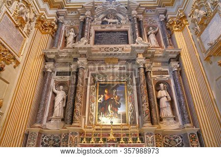 Lecce, Italy - June 1, 2017: One Of Chapels At The Cathedral In Lecce, Italy. The Baroque Landmark I