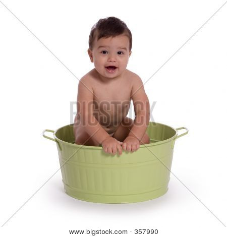 Child Happy In Metal Tub