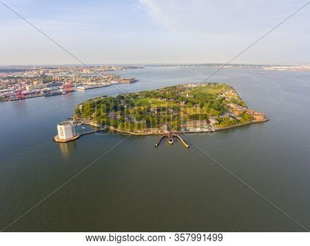 Governors Island And Castle Williams Aerial View From New York Harbor, New York City, New York Ny, U