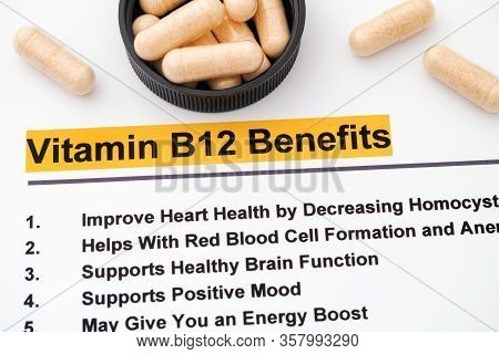 Vitamin B12 Benefits. Close Up Shot. Medical Concept Shot.