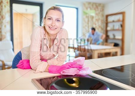 Smiling housewife as a cleaning lady with cleaning rag at the stove during spring cleaning