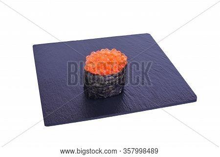 Traditional Fresh Japanese Sushi On Black Stone Gunkan Ikura On A White Background. Gunkan Ingredien