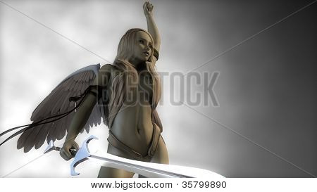 pretty angel with sword