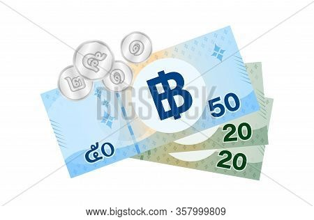 Thai Banknote Money 99 Baht Isolated On White, Thai Currency Ninety Nine Thb Concept, Money Thailand