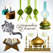 Vector 3D Ramadan Element Translation of Jawi Text: Eid Mubarak, May you Enjoy a Blessed Festival poster