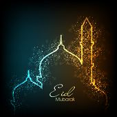 Beautiful greeting card for Eid Mubarak festival with shiny Mosque and Masjid image. EPS 10. poster
