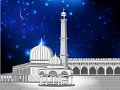 Eid Mubarak concept with Mosque and Masjid on shiny blue background. EPS 10. poster