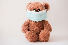 Teddy Bear Wearing Protective Medical Mask. Coronavirus Protection. Virus Outbreak In A World. Toy B