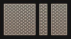 Laser Cut Panel. Vector Template, Abstract Geometric Pattern In Oriental Style. Elegant Grid, Mesh,