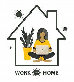Self-quarantine Concept. Work At Home During An Outbreak Of The Covid-19 Virus. Coronavirus Quaranti