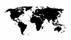 Black World Map On White Background. Europe, Asia, South America, North America, Australia, Africa S