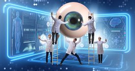 Doctor examining giant eye in medical concept