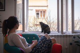 Home Isolation From Coronavirus. Woman Protecting From Virus. Virus. Virus Protection Quarantine. Co