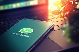 Kyiv, Ukraine-january, 2020: Whatsapp On Smartphone Screen. Closeup. Whatsapp Is Most Popular Social