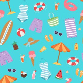 Summer Beach Seamless Pattern With Umbrella, Cocos And Icecream, Swimming Flamingo, Surfboard And Ho