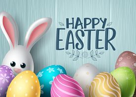 Happy Easter Vector Background Design. Happy Easter Text With Colorful Egg Patterns And Cute Bunny R
