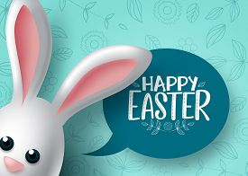Happy Easter Bunny Character Vector Background Design. Happy Easter Text With Cute Bunny Rabbit Cart