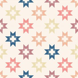 Vector Geometric Seamless Pattern With Colorful Stars, Flower Silhouettes, Crosses. Simple Abstract
