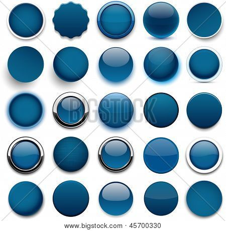 Set of blank dark blue round buttons for website or app. Vector eps10.