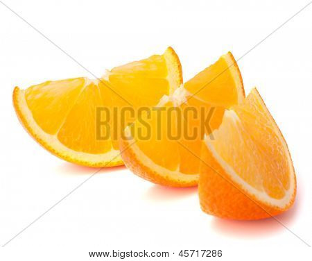 Three orange fruit segments or cantles isolated on white background cutout