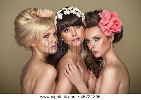 Beautiful women with flower in hair