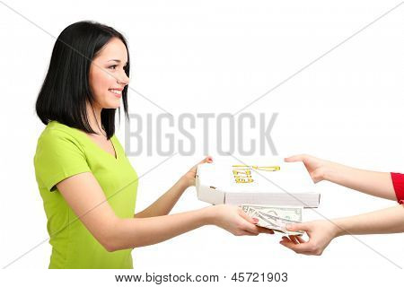 Beautiful girl gets order pizza isolated on white