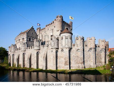 The Gravensteen, a famous castle in Ghent, Belgium