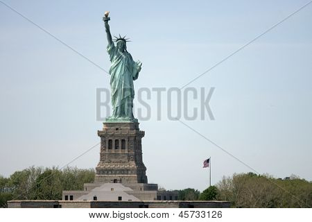 NEW YORK - MAY 17: The Statue of Liberty is shown on May 17, 2013 in New York. The Statue of Liberty was dedicated on October 28, 1886 and restored for her centennial on July 4, 1986.