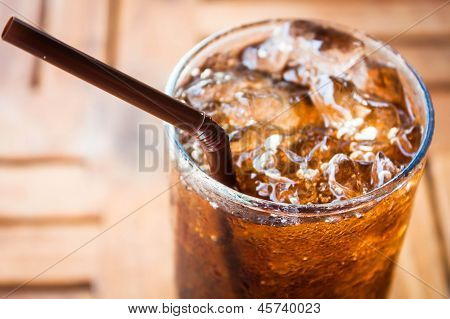 Cold Glass With Cola And Ice Cubes